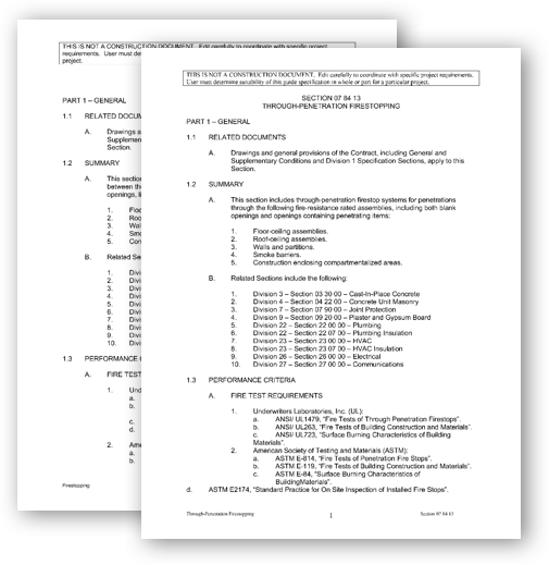 Guide Specifications document